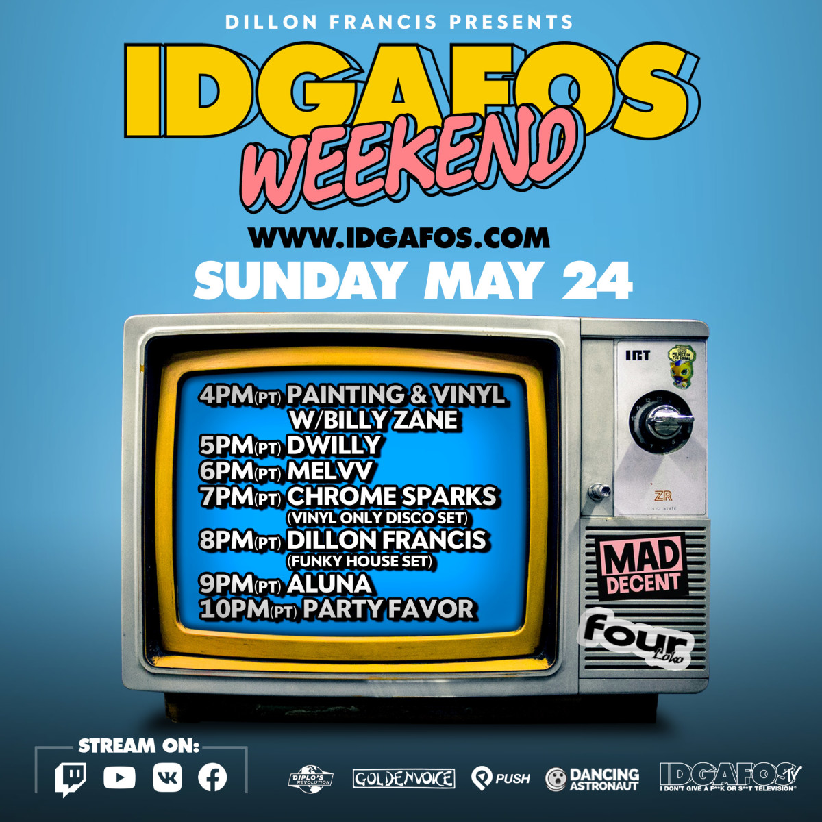 Lineup Day 2 IDGAFOS Weekend di Dillon Francis