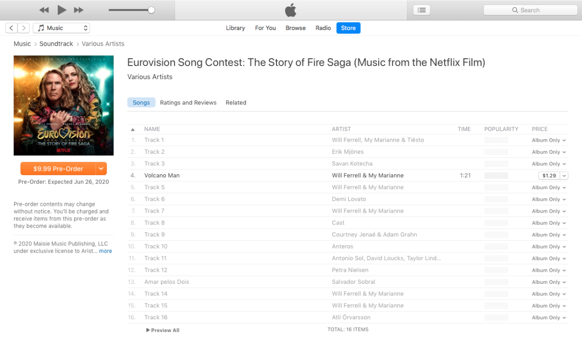 Eurovision Song Contest: The Story of Fire Saga Soundtrack iTunes listing