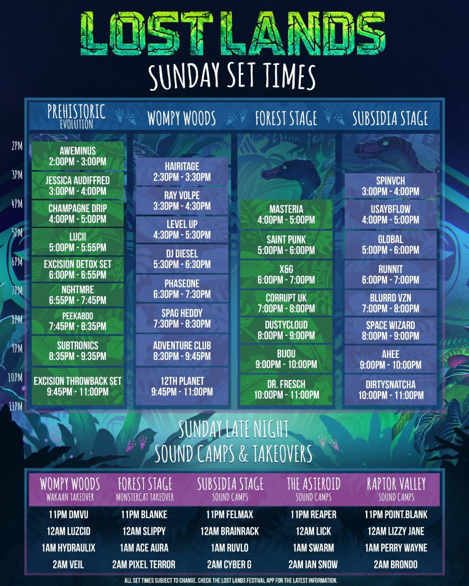 Lost Lands schedule for September 26th, 2021.
