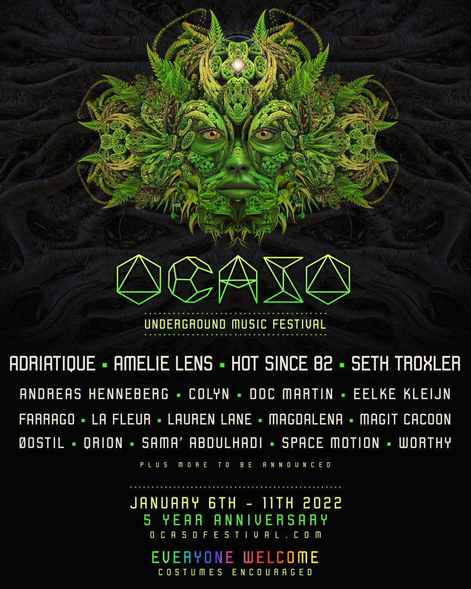 Flyer for the 2022 edition of Ocaso Festival.
