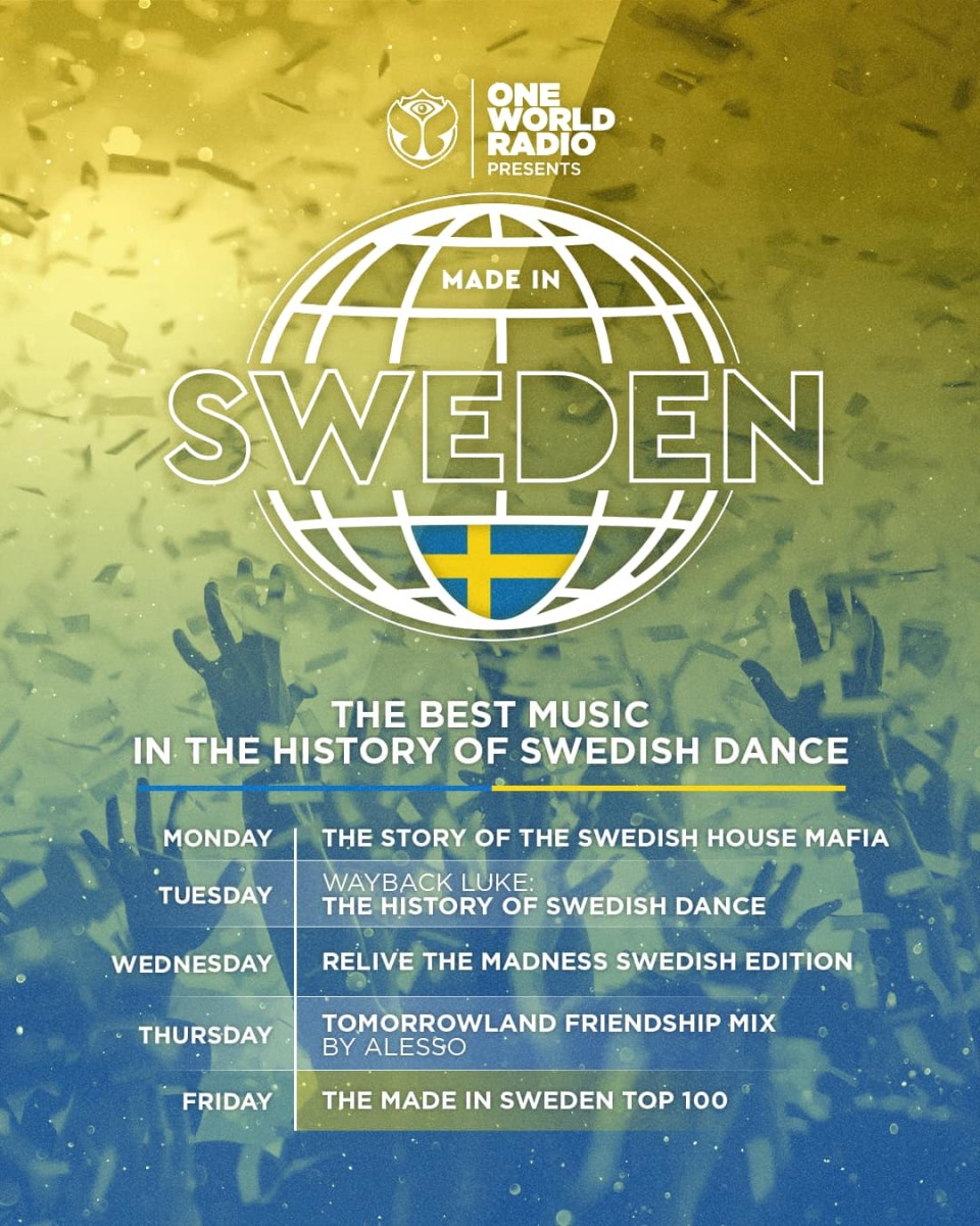 """Schedule for the """"Made In Sweden"""" programming on Tomorrowland's One World Radio."""