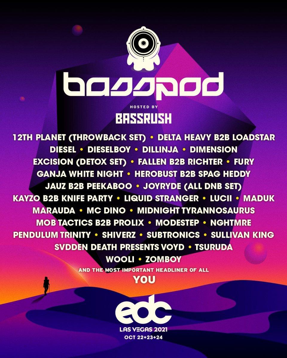 EDC Las Vegas 2021 Basspod Lineup