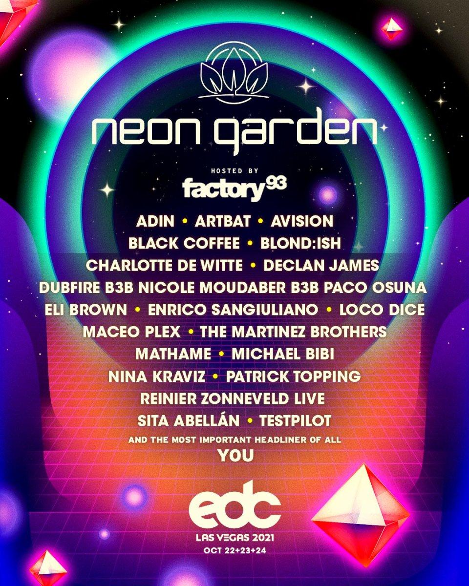 EDC Las Vegas 2021 Neon Garden Lineup