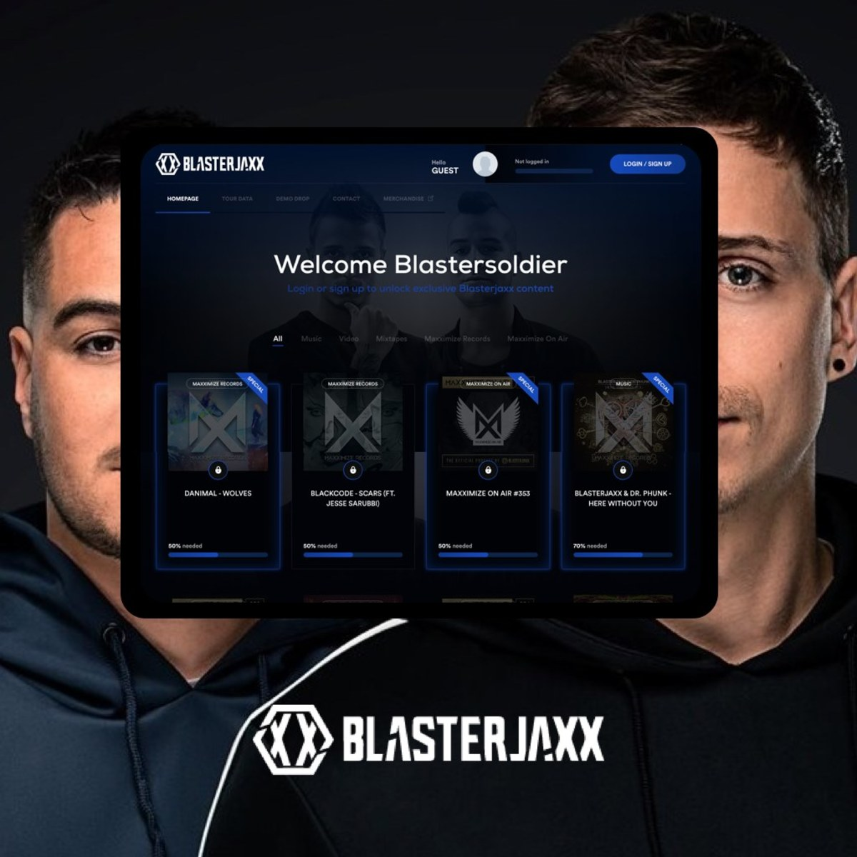 """Dutch DJduo Blasterjaxx used Fangage to host and provide early access to their music and exclusive content for their """"Blastersoldier"""" fan community."""