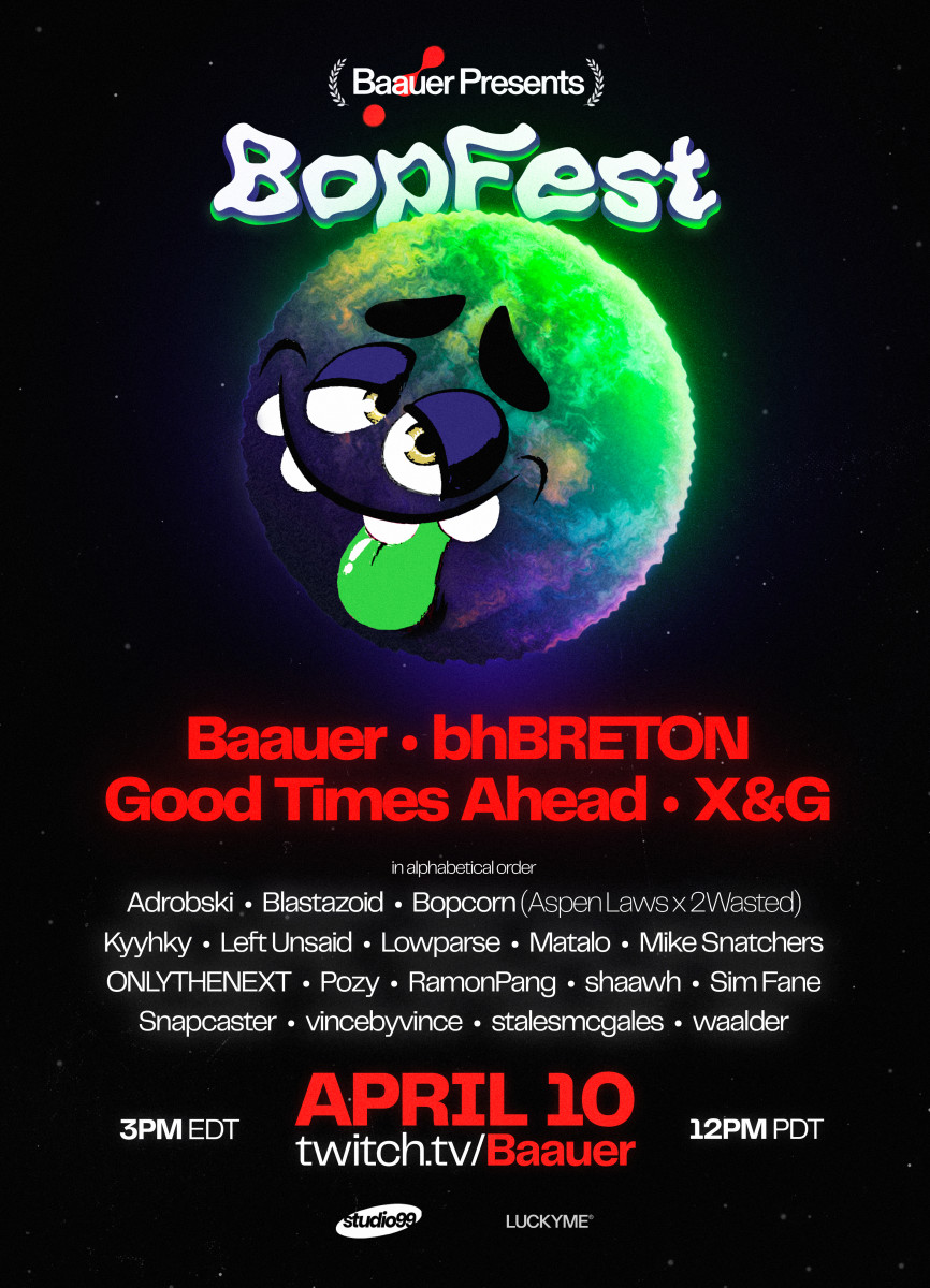 Flyer for BOPFEST, the first-ever virtual festival from Grammy Award-nominated electronic music artist Baauer.