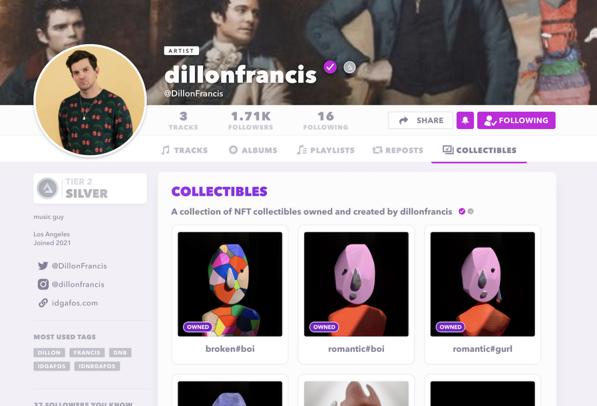 Dillon Francis' NFTs on his Audius Collectibles tab.