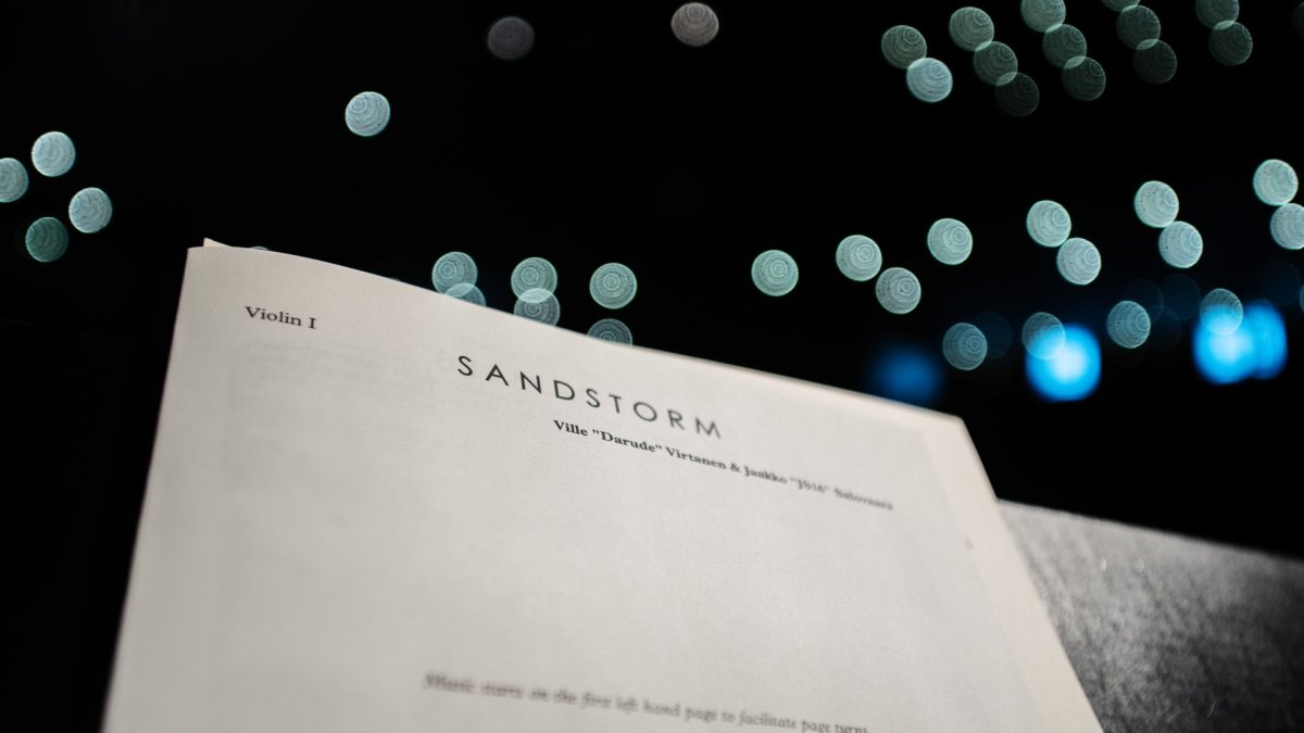 "Sheet music for Smart & Clean's symphonic orchestra rendition of Darude's iconic song ""Sandstorm."""