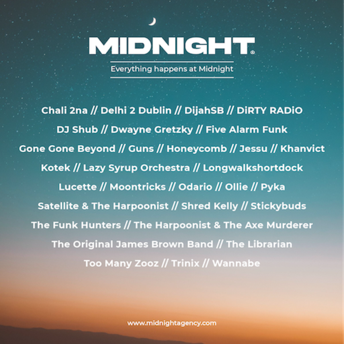 Midnight Agency's full roster at launch on April 6th, 2021