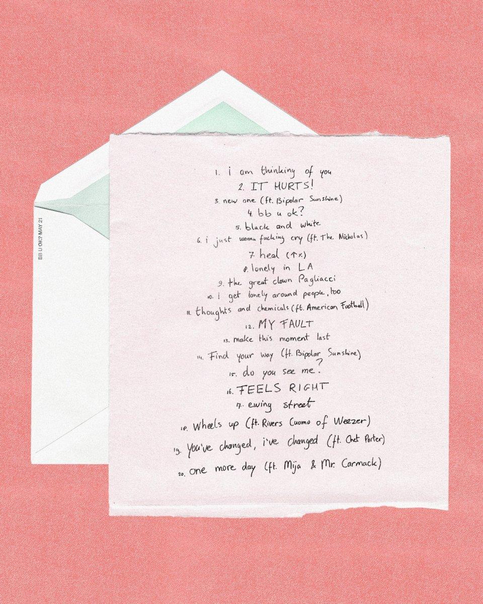 Tracklist for San Holo's sophomore album,bb u ok? (album 2).