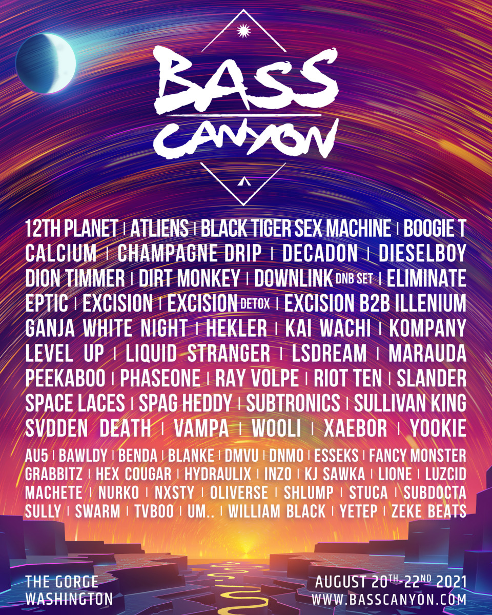 2021 lineup for Bass Canyon.