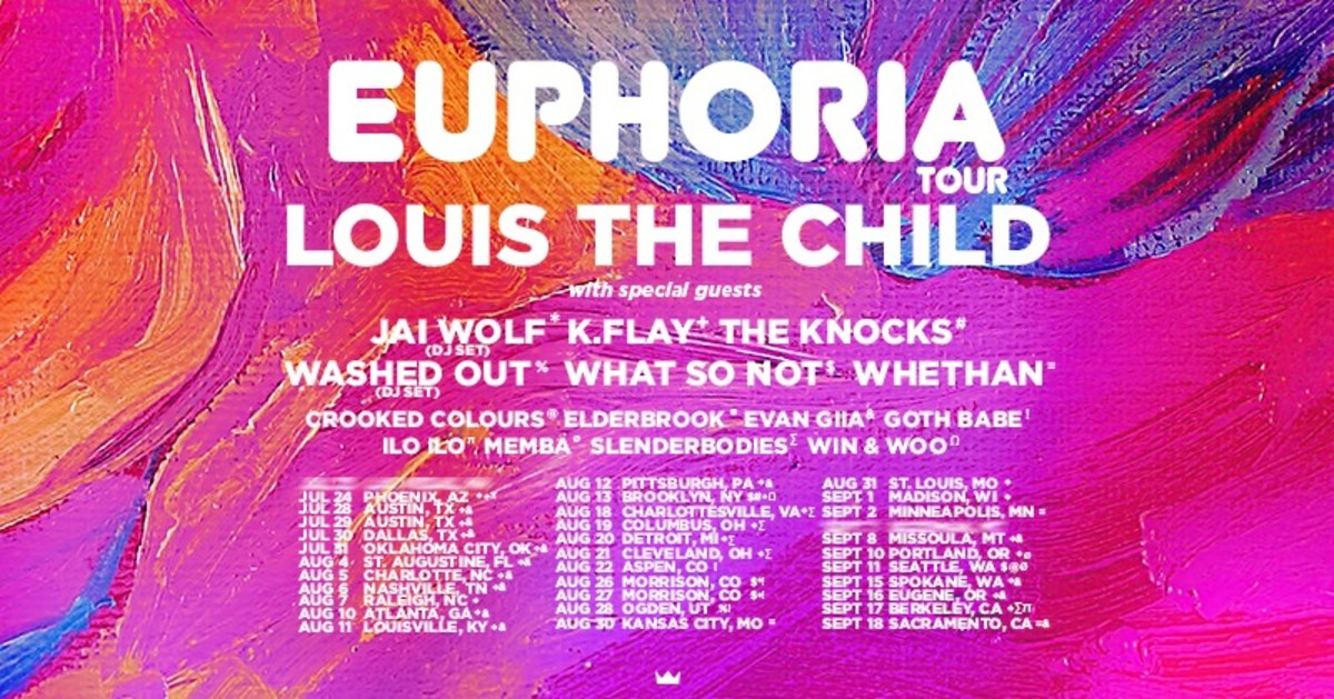 "Flyer for Louis The Child's upcoming ""Euphoria"" tour featuring Whethan, What So Not, and many more."