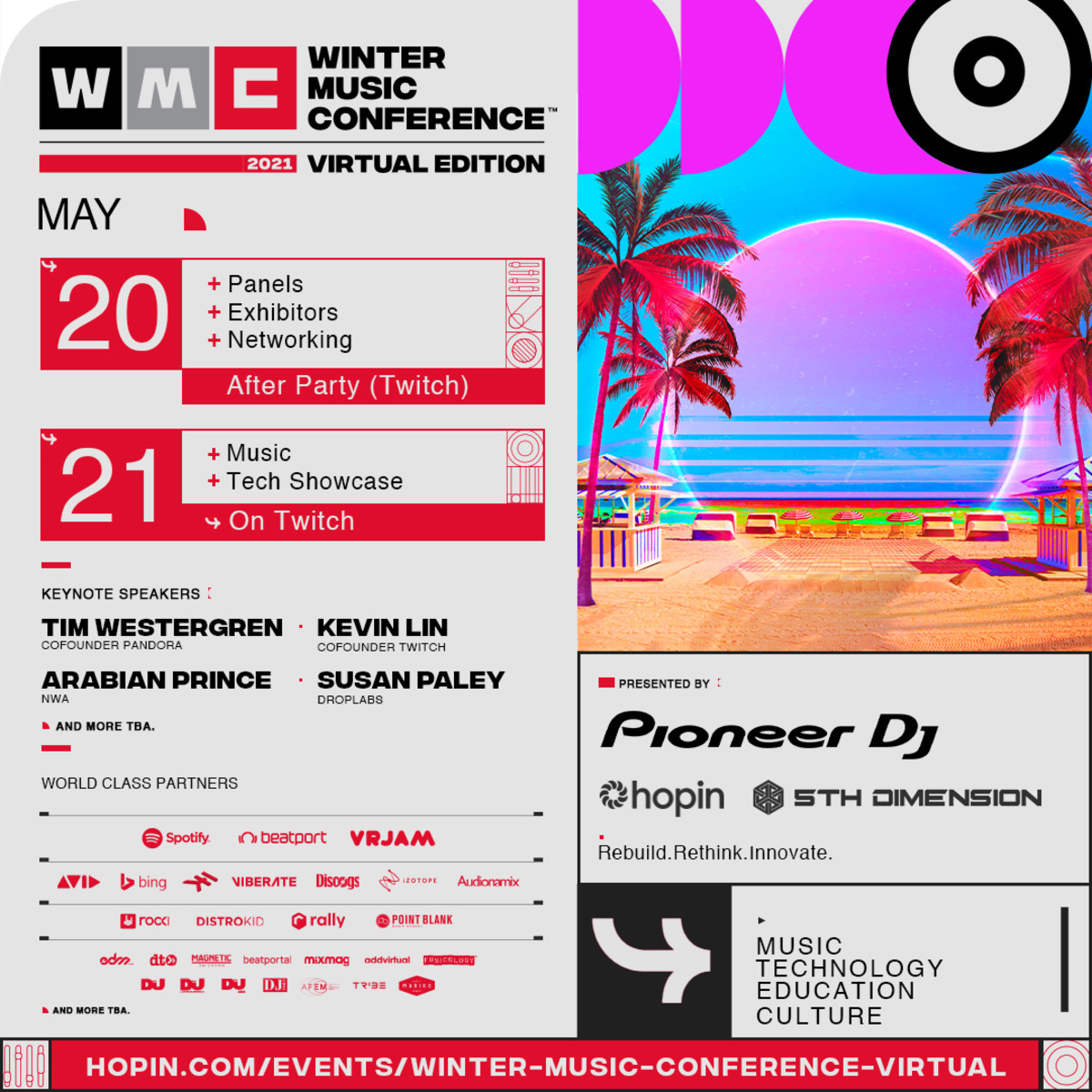 Flyer for the first-ever virtual edition of the Winter Music Conference.