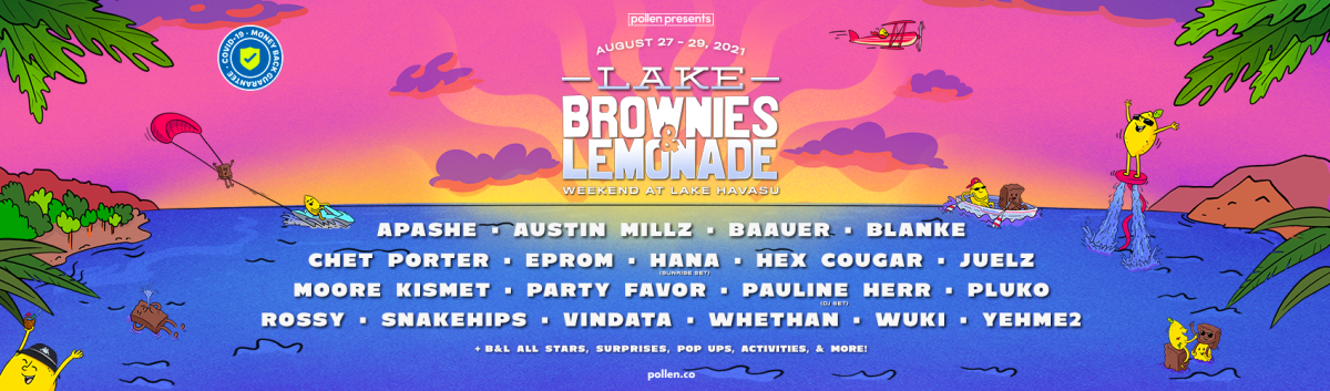 "Flyer for Brownies & Lemonade's ""Weekend at Lake Havasu"" featuring Baauer, Party Favor, and many more."