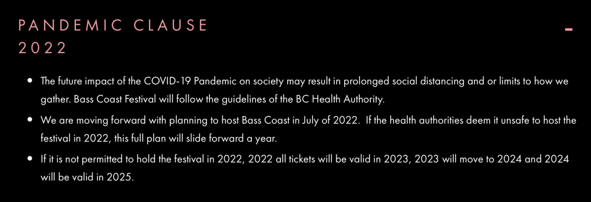 Bass Coast created the Pandemic Clause 2022