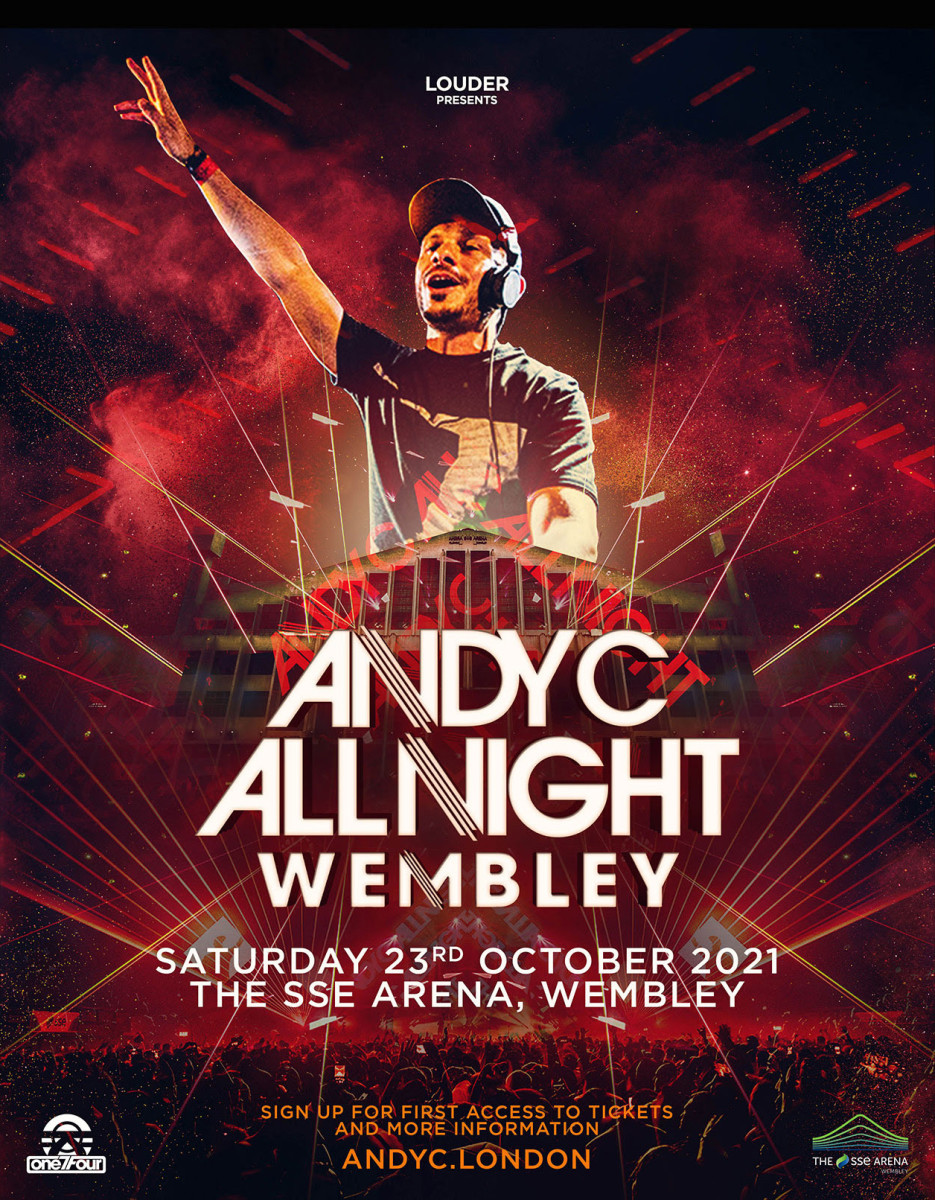 "Flyer for Andy C's ""All Night"" 2021 show at The SSE Arena, Wembley."