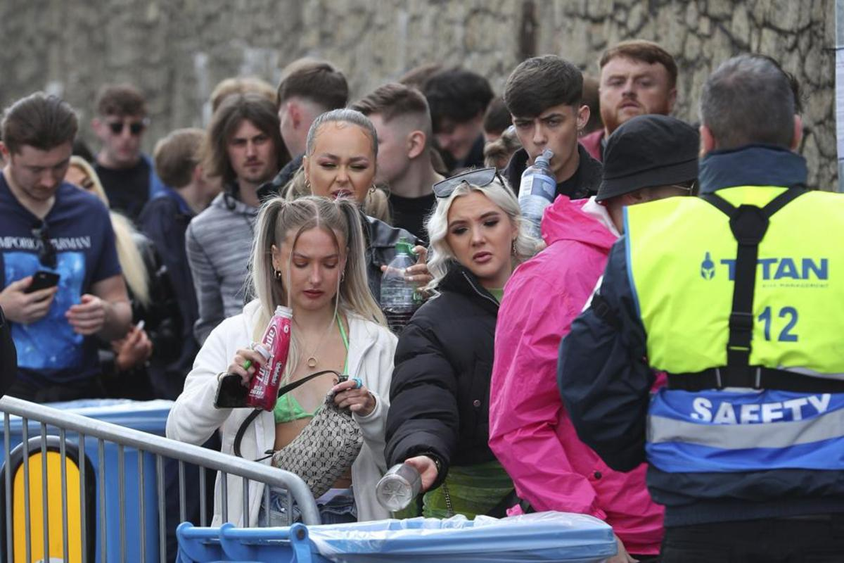 Thousands await entry to Circus Nightclub to participate in a test event, which featured music from Jayda G and Lewis Boardman.