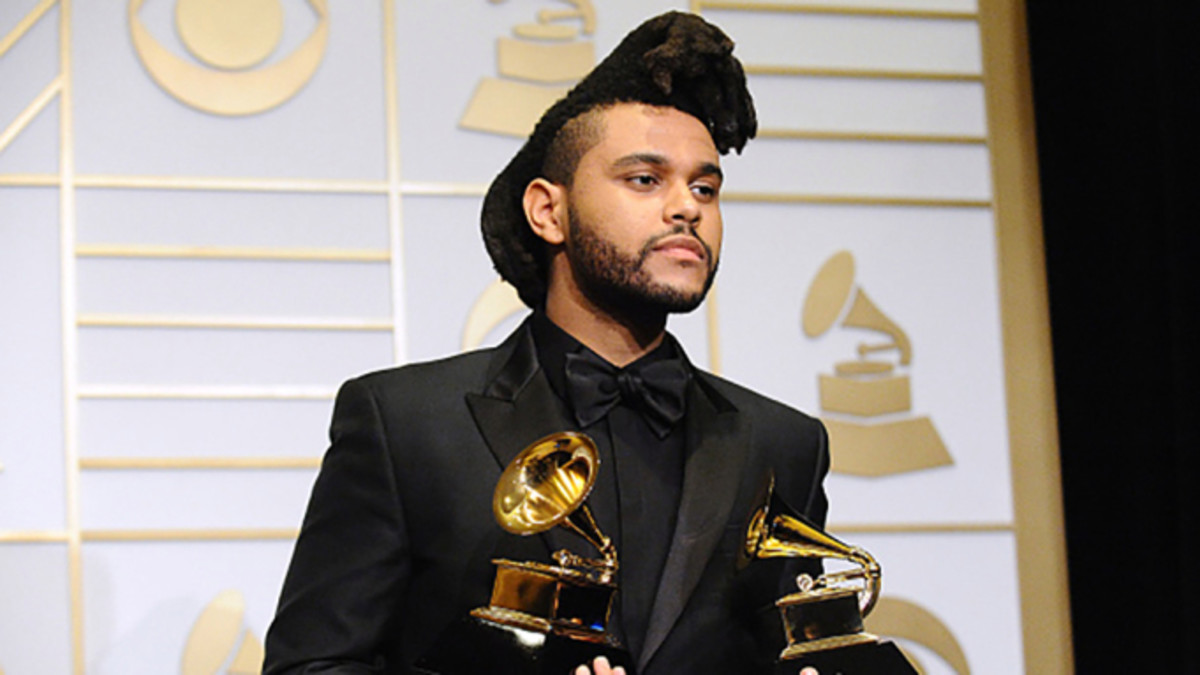 The Weeknd at the 2016 Grammys after winning in the categories of Best R&B Performance and Best Urban Contemporary Album.
