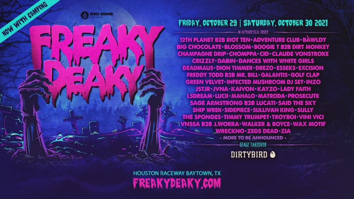 Lineup for the 2021 edition of Texas' Freaky Deaky music festival.