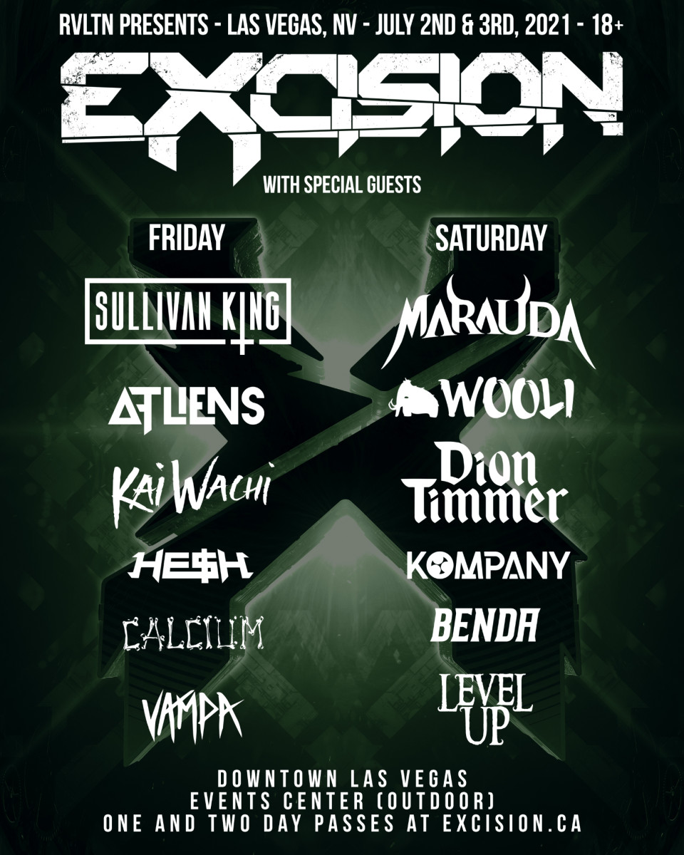 Official flyer for Excision's two-night Las Vegas 2021 run at the Downtown Las Vegas Events Center.