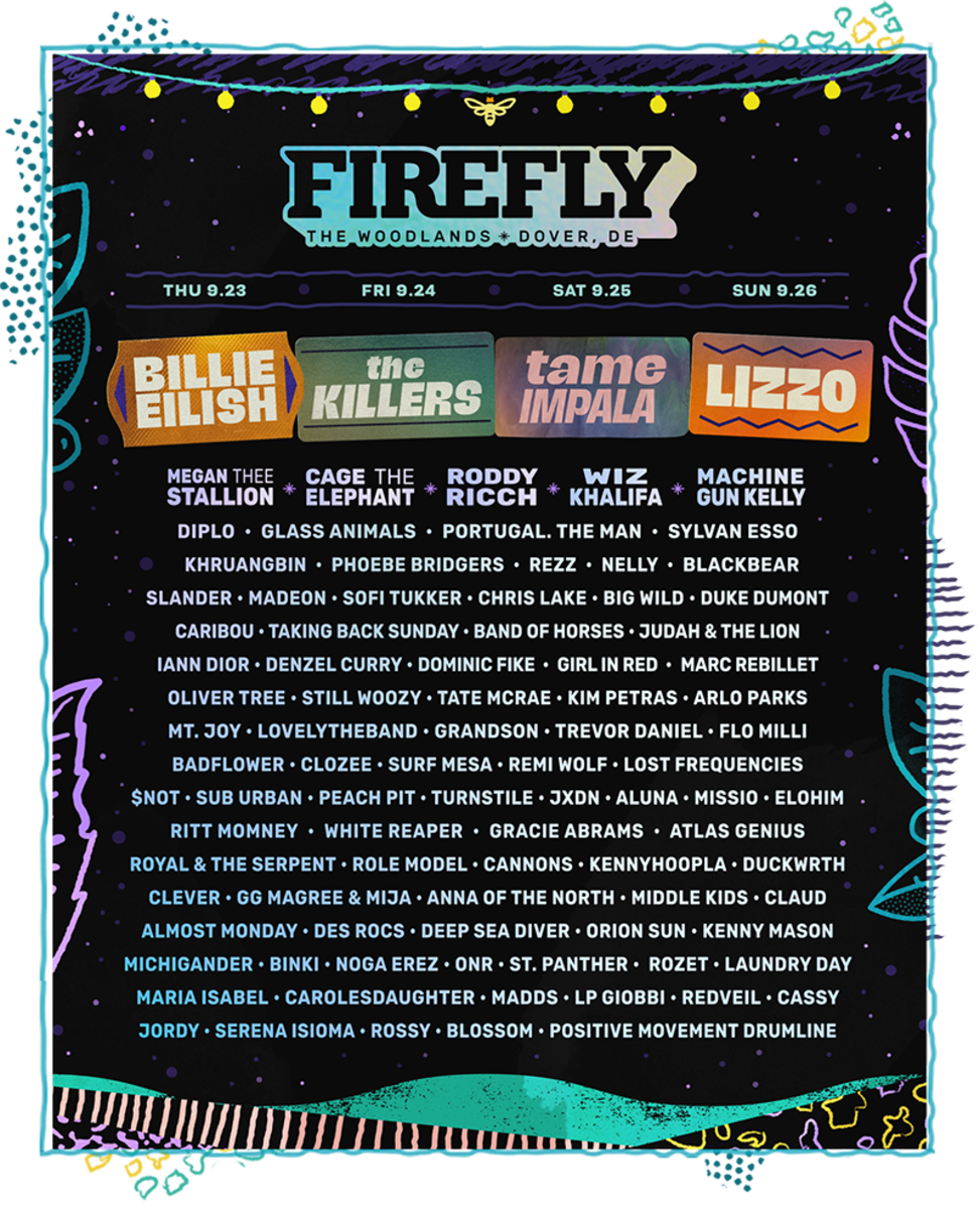 Flyer for the 2021 edition of Firefly Music Festival, which will featureheadliners Billie Eilish, The Killers, Tame Impala, and Lizzo.