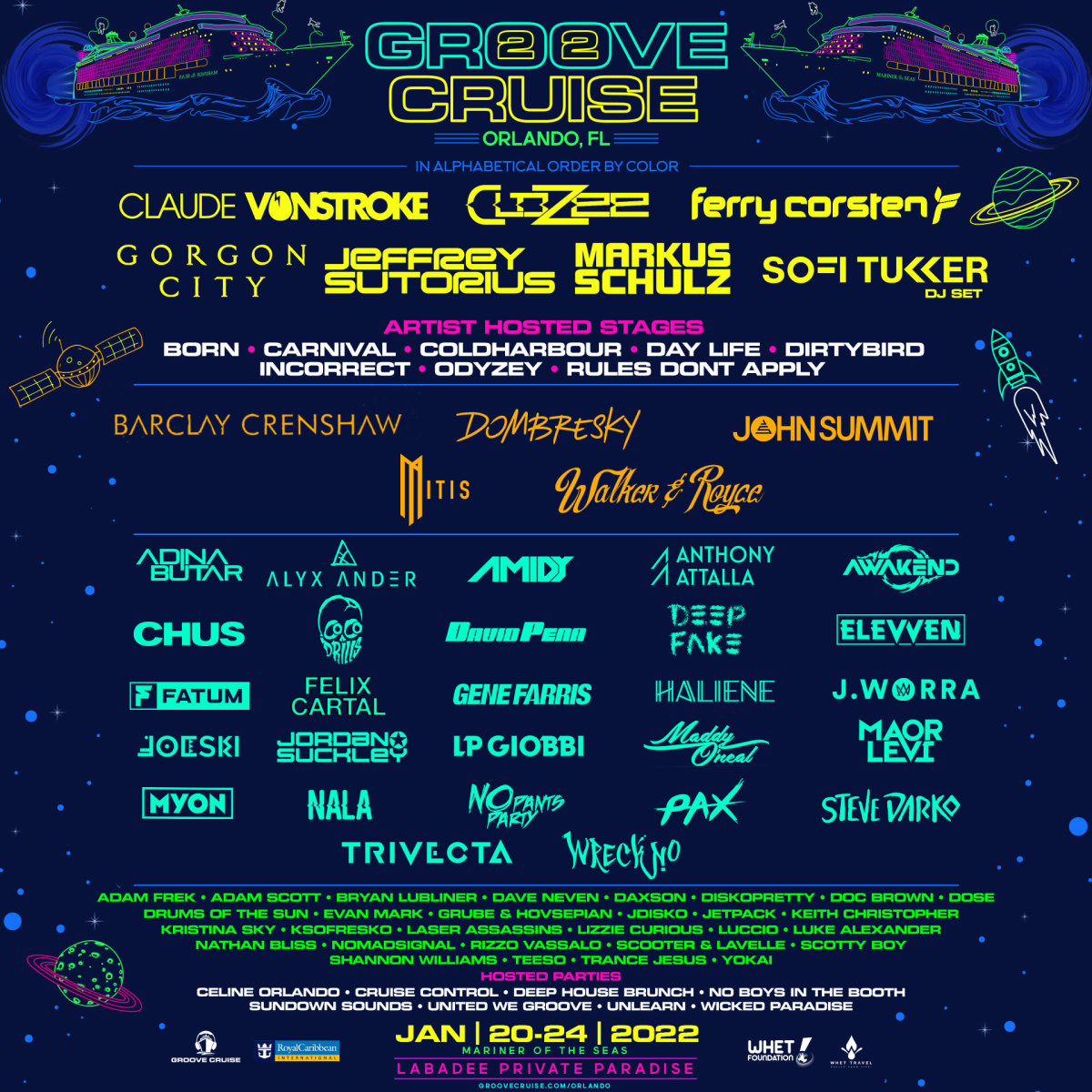 Groove Cruise Orlando announces the lineup for the January 2022 voyage.