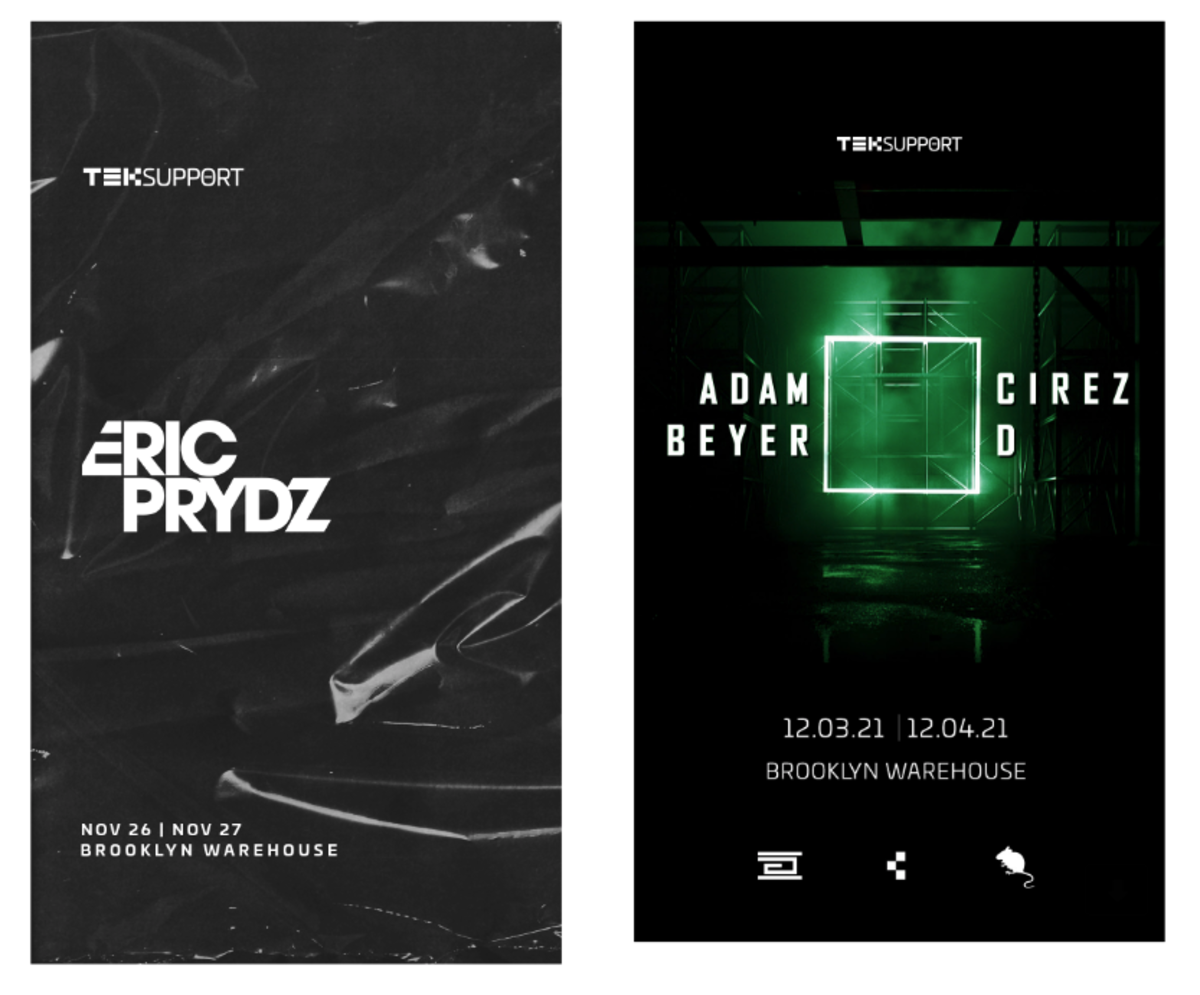 Flyers for Eric Prydz's upcoming Brooklyn warehouse shows.