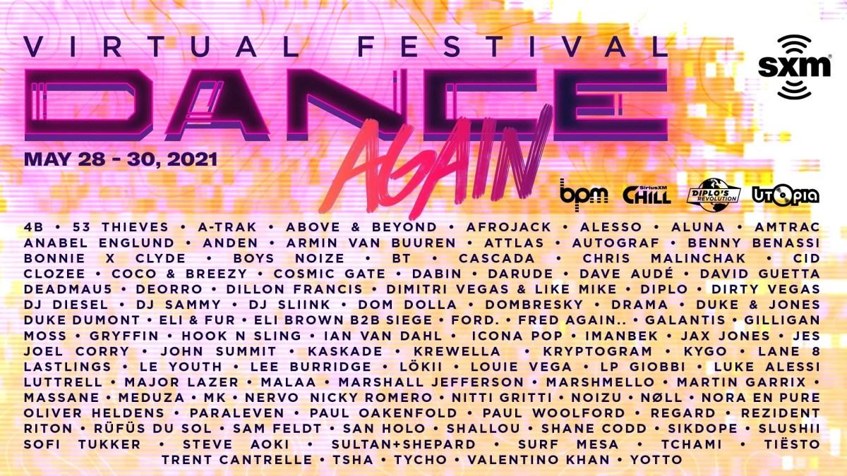 "Flyer for SiriusXM's virtual ""Dance Again"" festival."