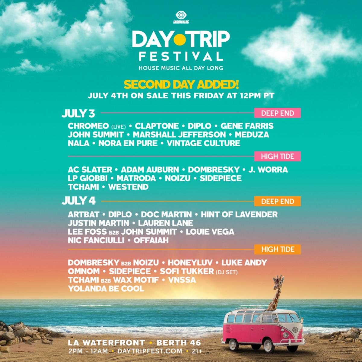 Flyer for Insomniac's 2021 Day Trip Festival.