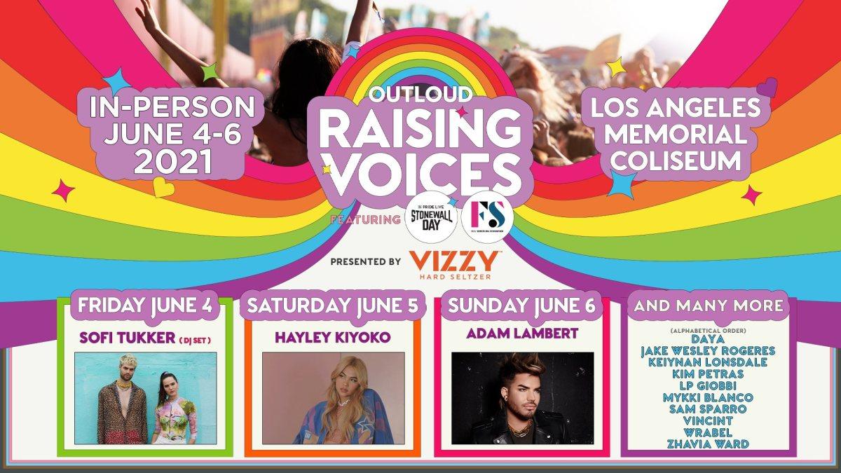 "Flyer for OUTLOUD's ""Raising Voices"" event with SOFI TUKKER, Adam Lambert, Hayley Kiyoko and more."