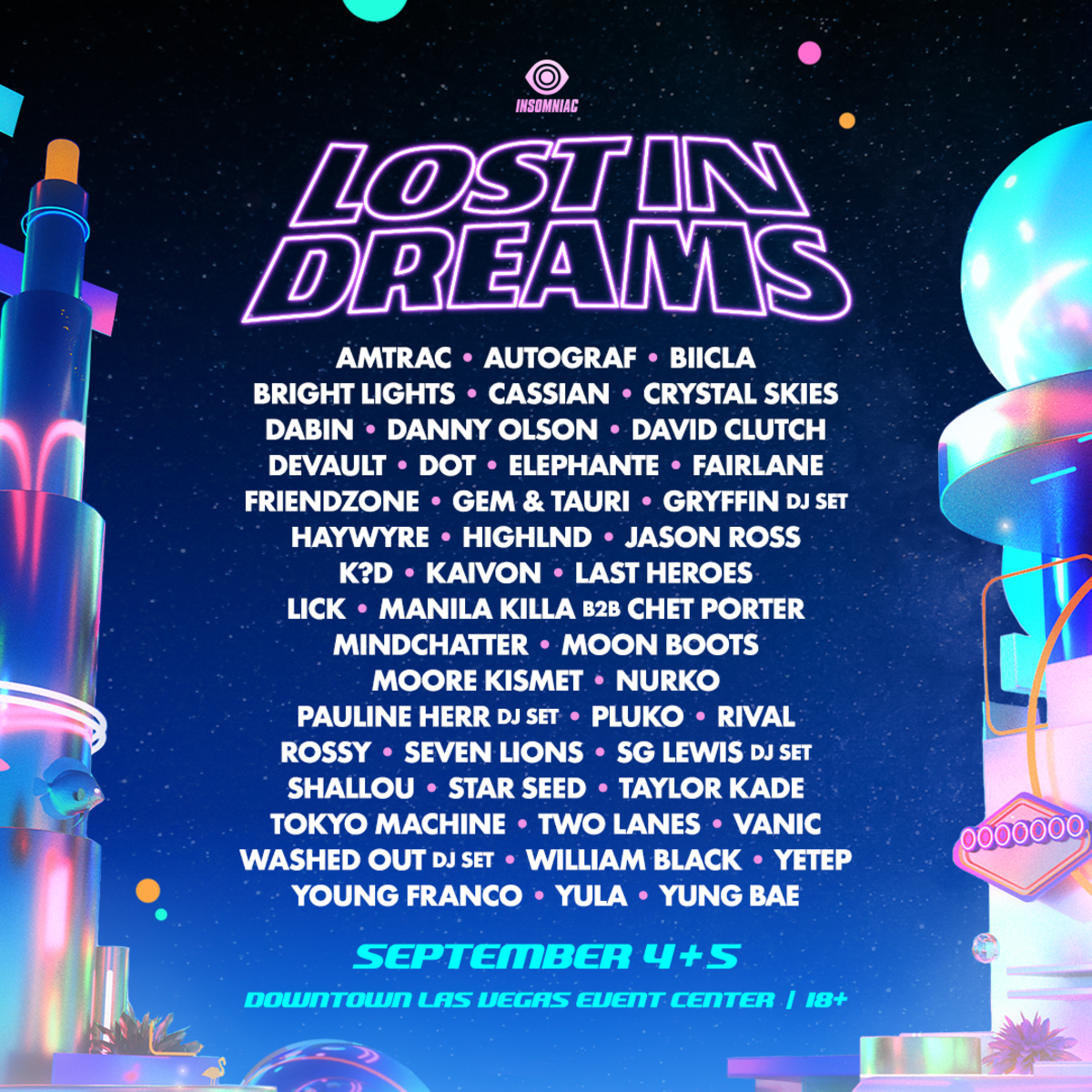 Flyer for Insomniac Events' first-ever Lost In Dreams Music Festival in Las Vegas.
