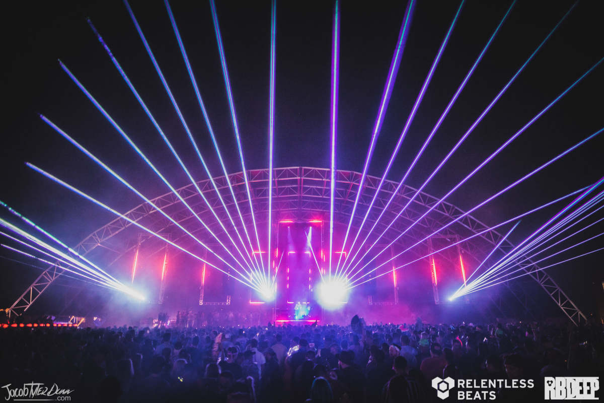 """The Rawhide Event Center lit up with lasers forRelentless Beats'""""Under Construction"""" show over Memorial Day Weekend 2021."""