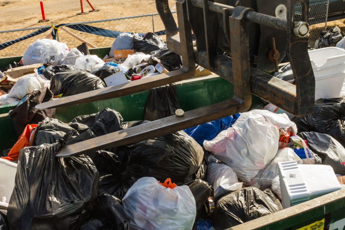 Trash bags piling up at California's Lighting in a Bottle music festival.