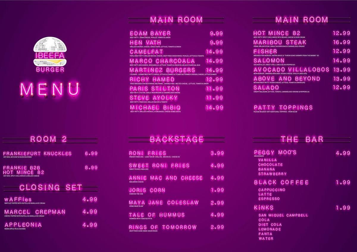 DJ puns are bountiful on the IBEEFA Burger menu.