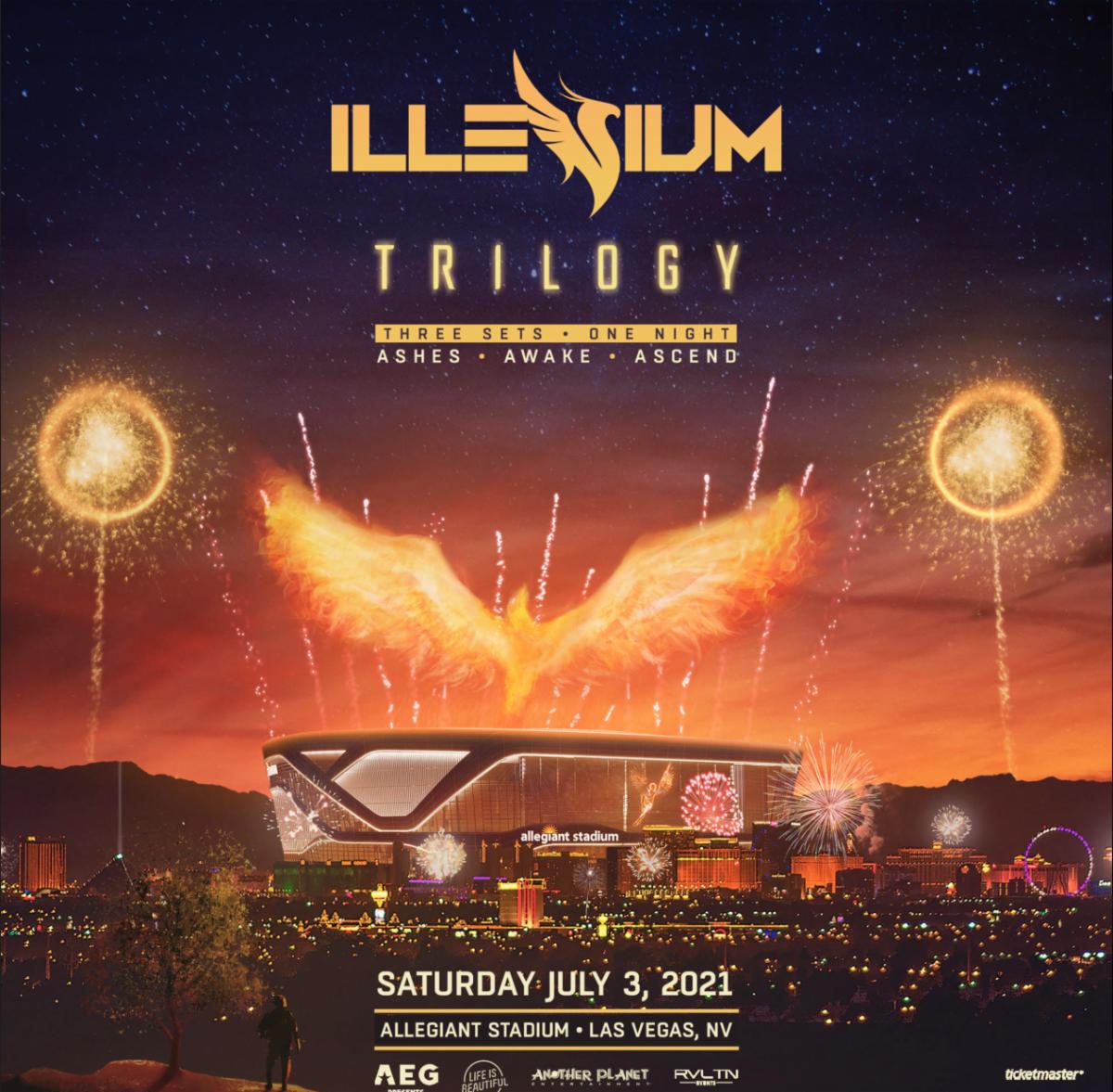 "Flyer for ILLENIUM's ""Trilogy"" concert at Allegiant Stadium in Las Vegas, July 3rd."
