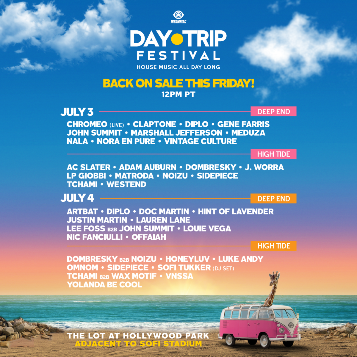 Lineup for Insomniac's Day Trip Festival 2021.