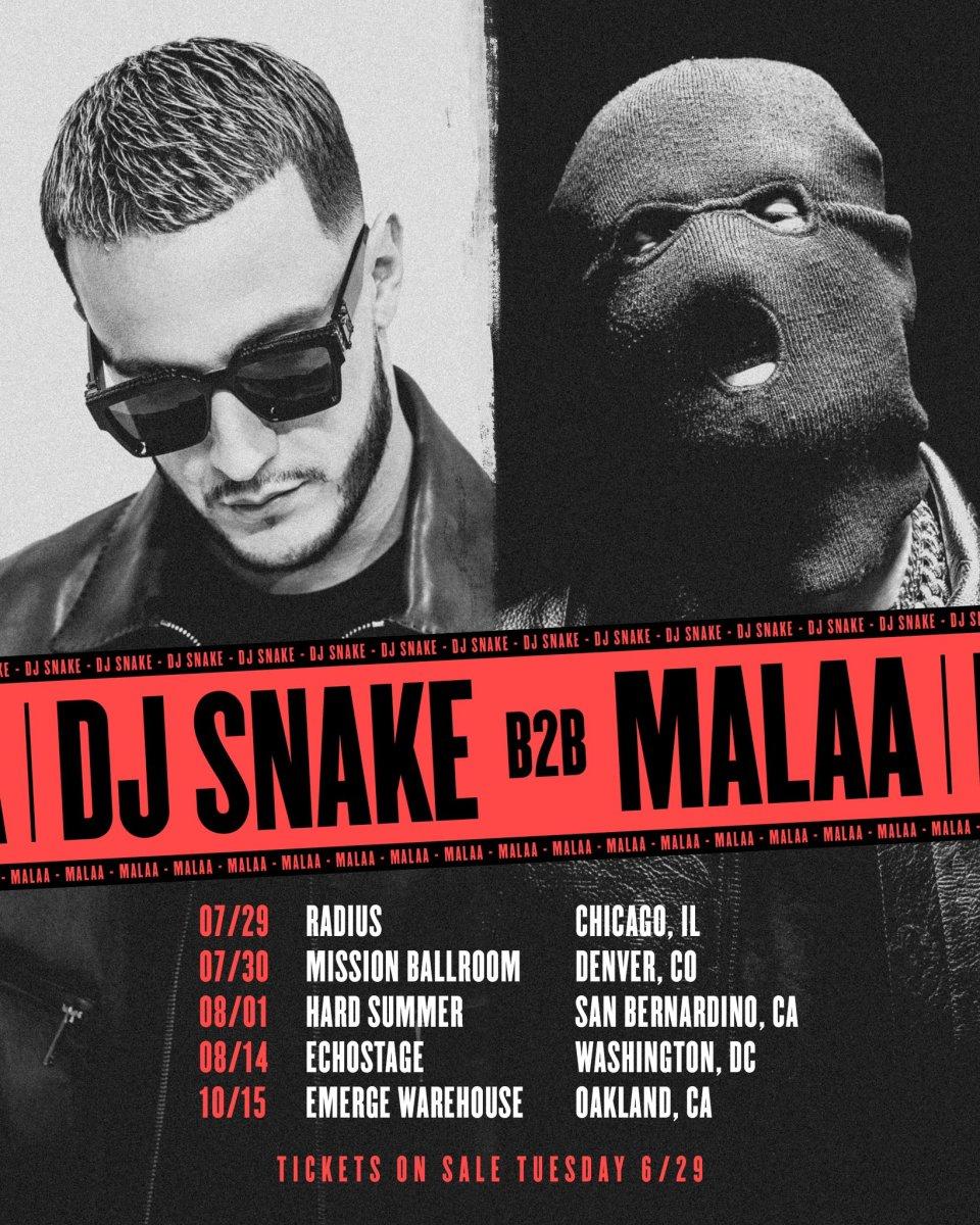 Flyer for DJ Snake and Malaa's 2021 B2B tour.