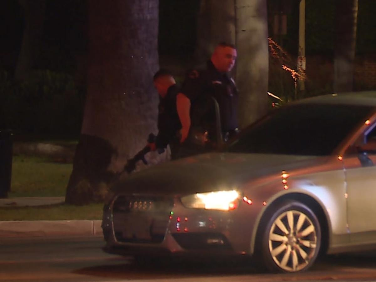Suspects took off in a gray Audi after engaging with Richard Saghian's private security in a gun fight.
