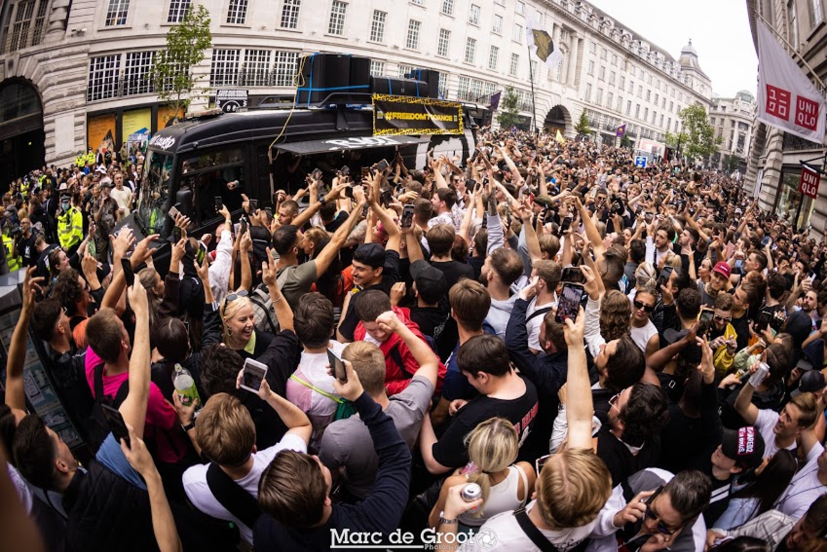 Frustrated demonstrators line the streets of central London in the #FreedomToDance protest.