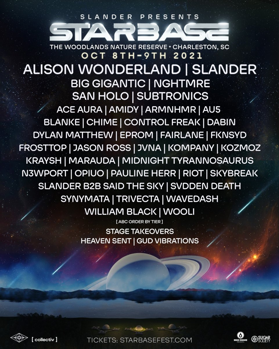 Lineup for the inaugural Starbase Music Festival, curated by SLANDER.