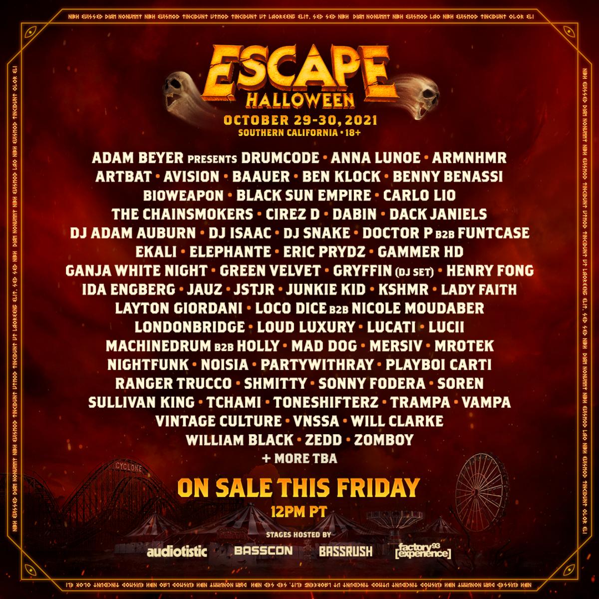 Escape Halloween 2021 lineup.