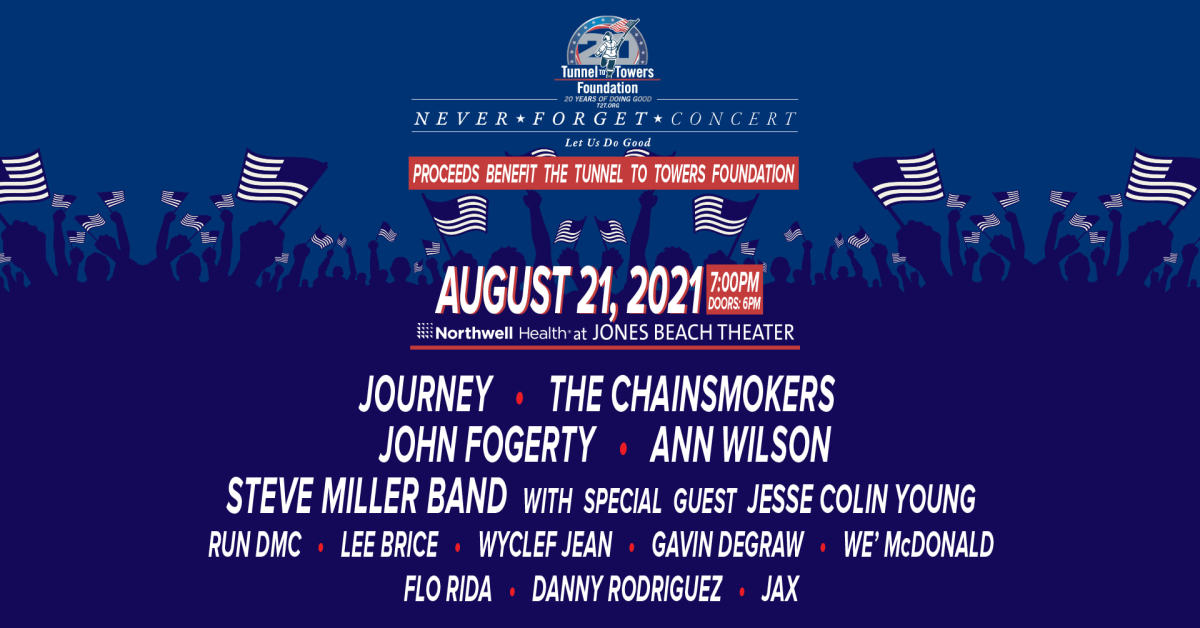 """Flyer for the """"Never Forget Concert"""" with Wyclef Jean, The Chainsmokers, Journey, and more."""