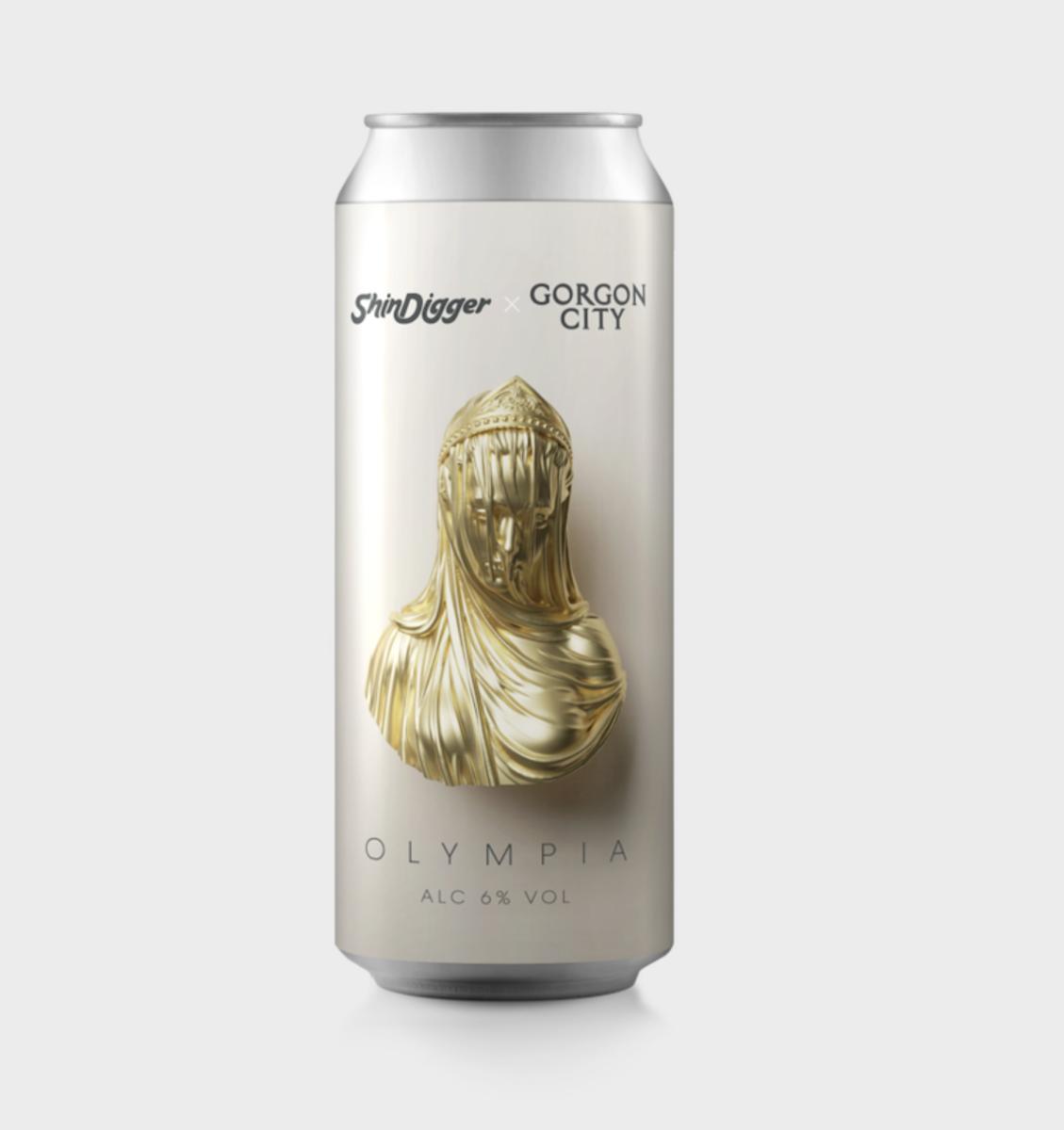 "Gorgon City and ShinDigger's ""Olympia 6%"" beer."