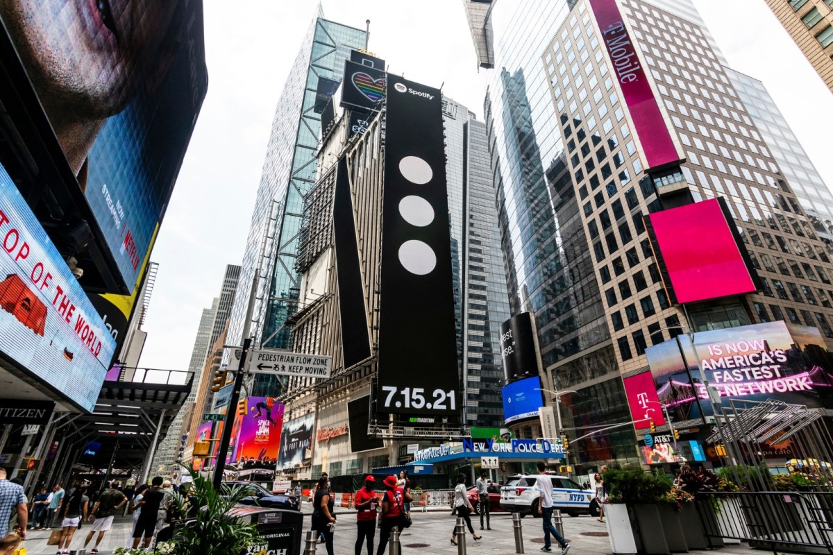 A Spotify advertisement for Swedish House Mafia in Times Square.