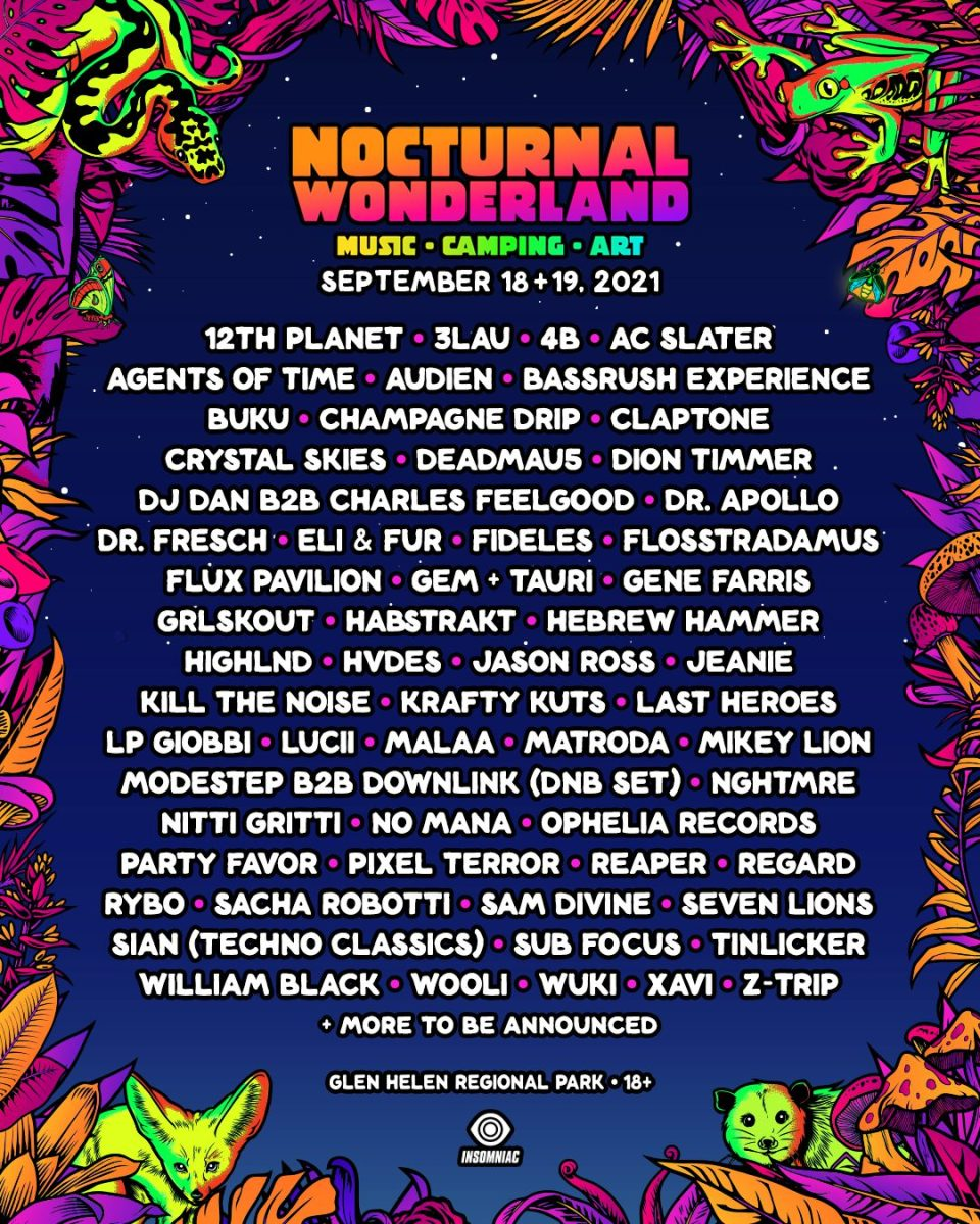 Nocturnal Wonderland takes over the Glen Helen Amphitheater this September 18th and 19th.