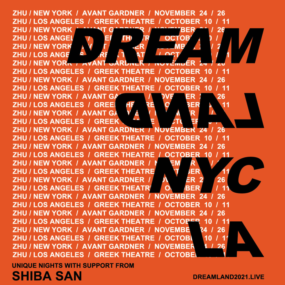 Flyer for ZHU's 2021 headlining gigs at Brooklyn Mirage in New York and the Greek Theatre in Los Angeles.