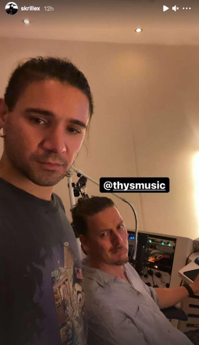 Skrillex and Thys of NOISIΛ in a photo from a studio session shared on July 19th, 2021.