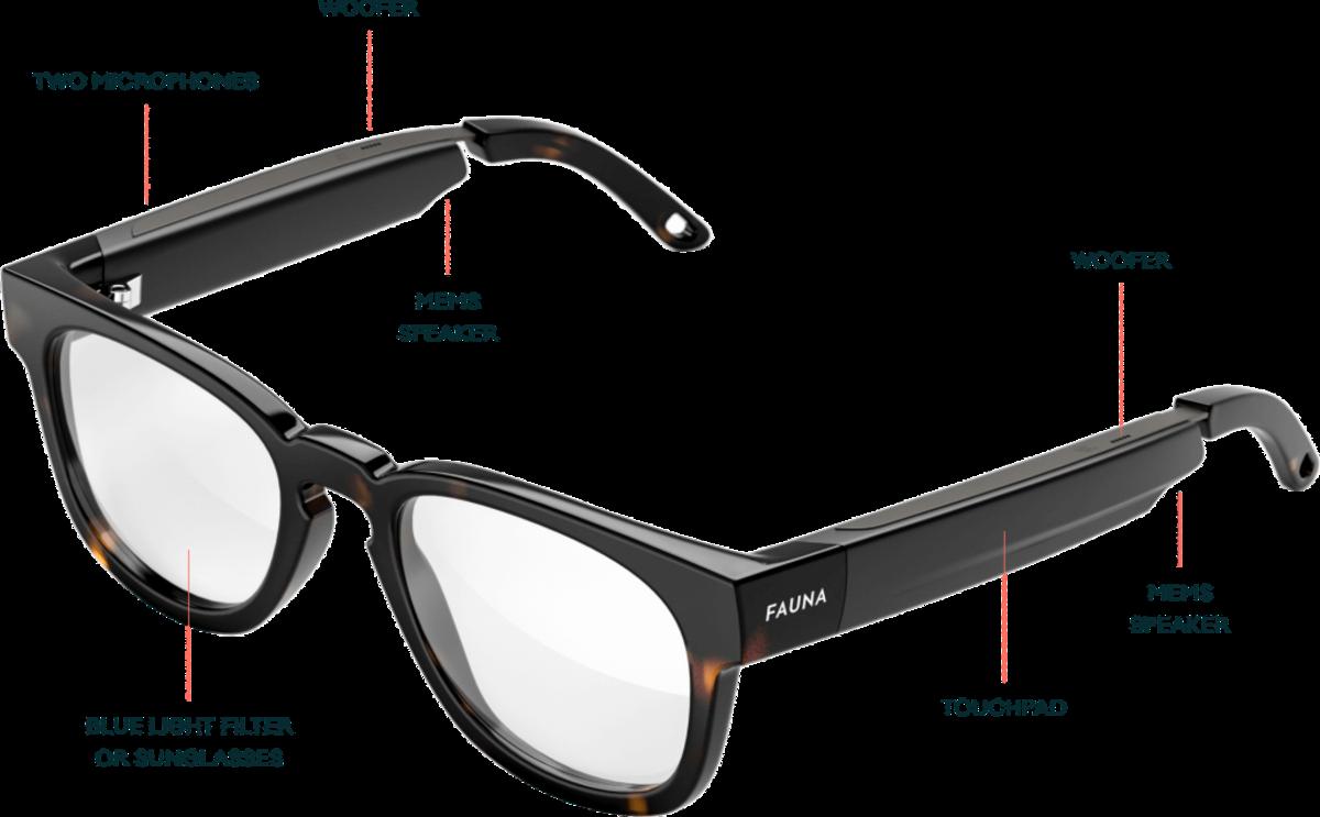 Звуковые очки Fauna оснащены двумя микрофонами. , тачпад и встроенный вуфер.