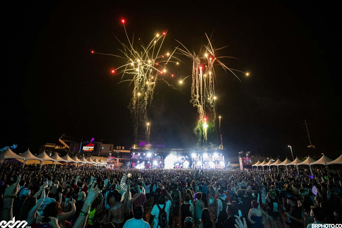 Excision performs the final song at Global Dance Festival 2021 with a fireworks display.