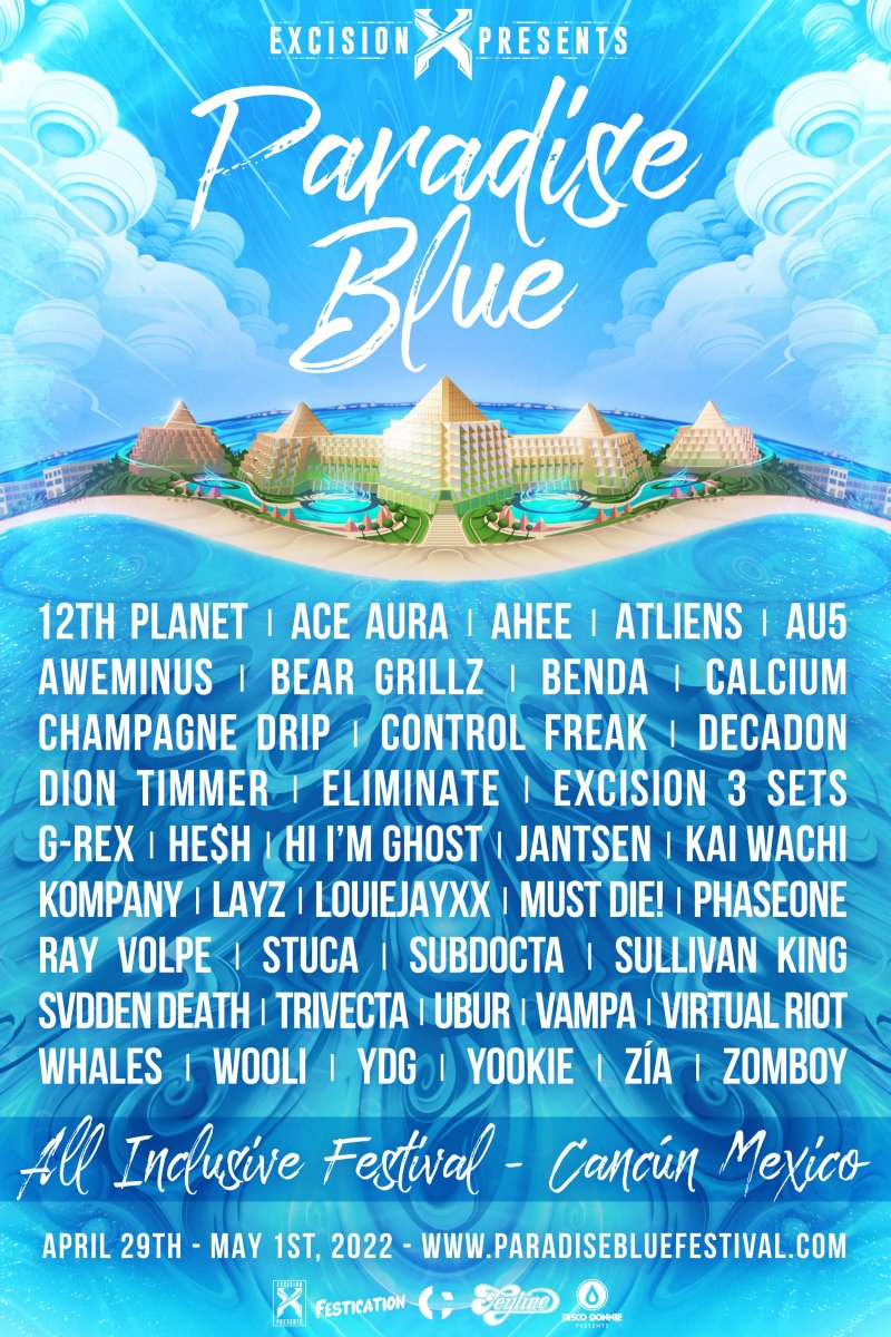 Flyer for Excision's inaugural Paradise Blue music festival in Cancún.