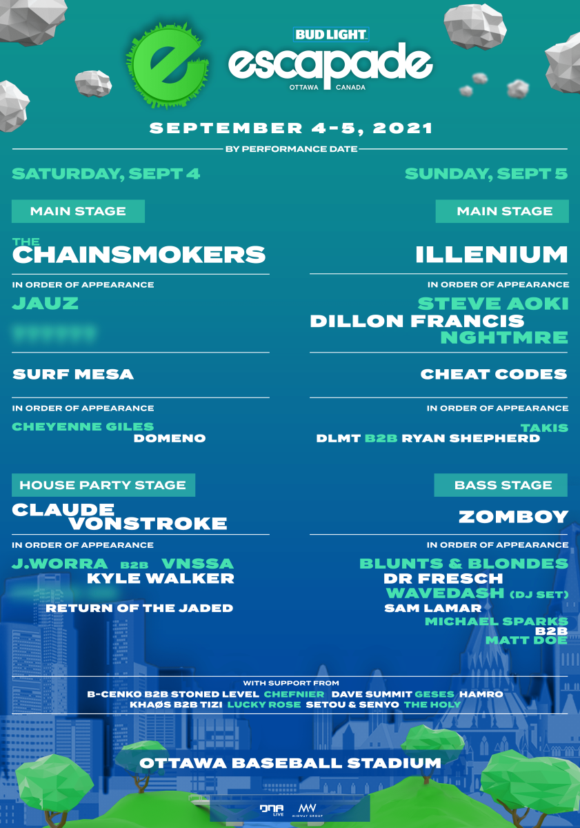 Flyer for Escapade 2021 in collaboration with Bud Light on September 4th and 5th.